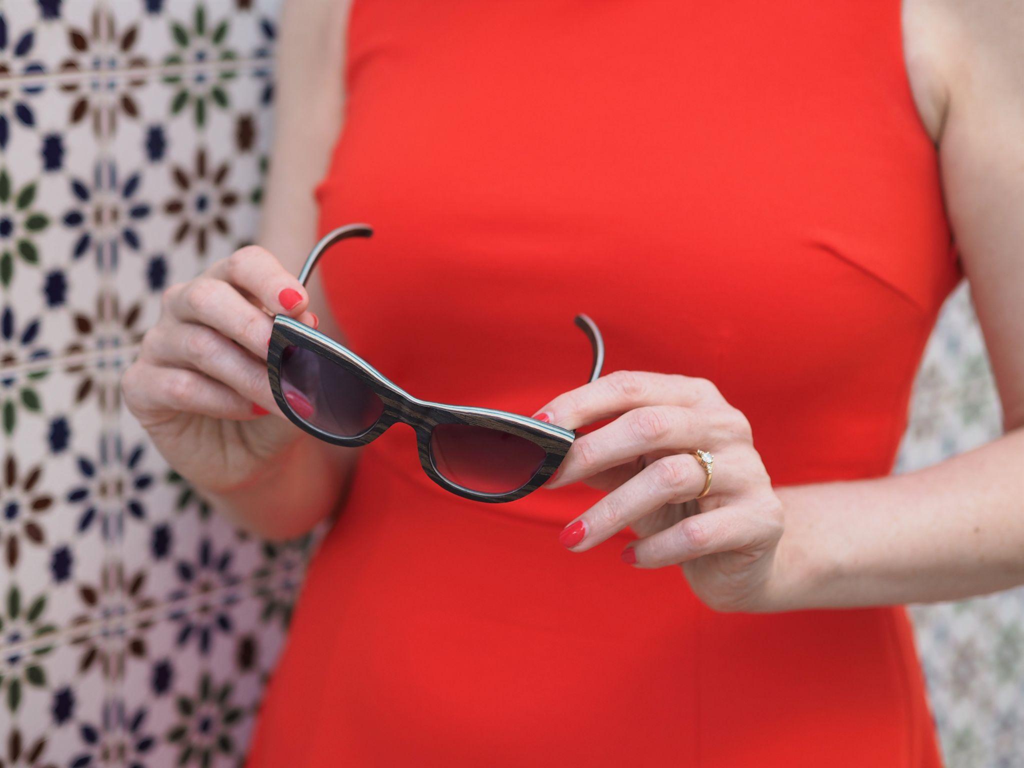 cat eye wooden sunglasses