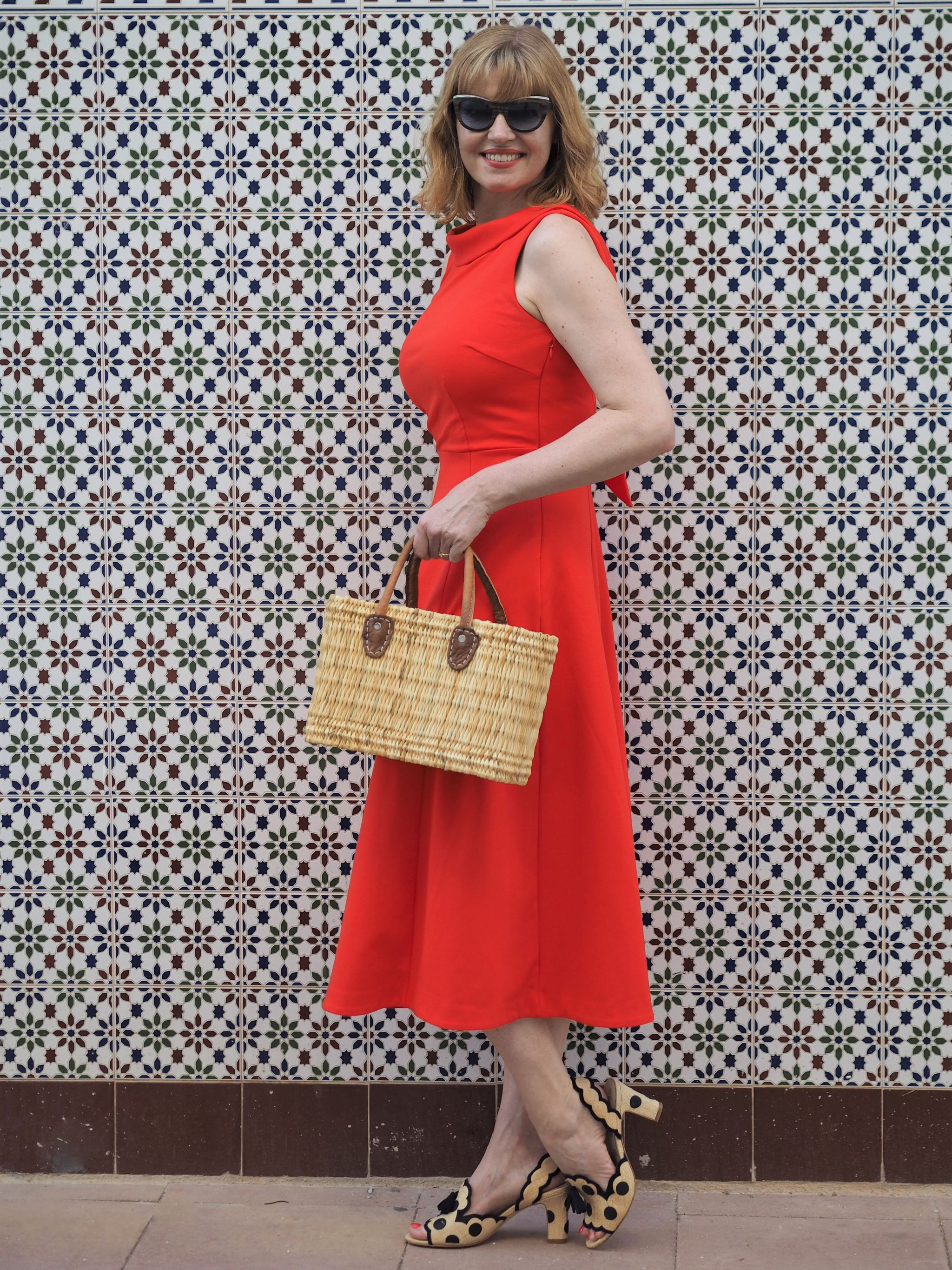 red ponte dress tiled wall in calpe