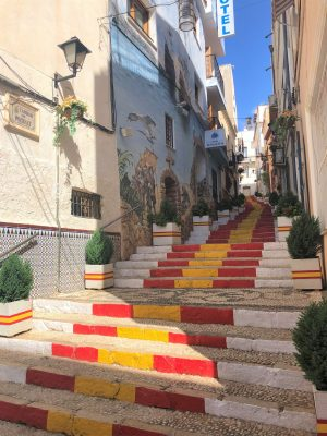 red painted steps calpe old town