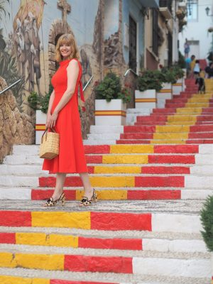 yellow and red painted steps in calpe Boden red ponte dress