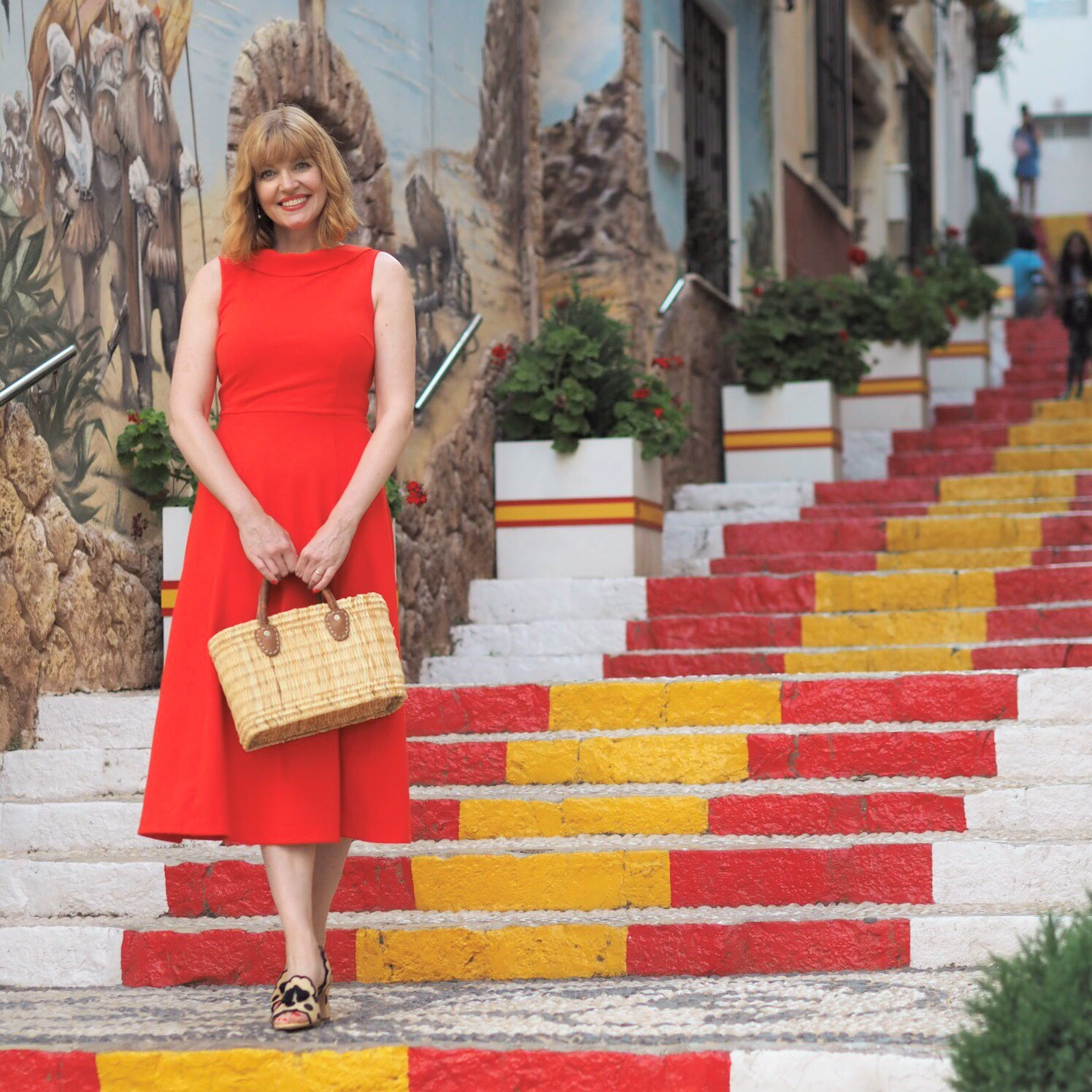 Red steps of Calpe and red dress 5