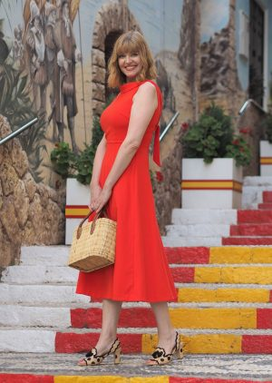 Red steps of Calpe and red dress
