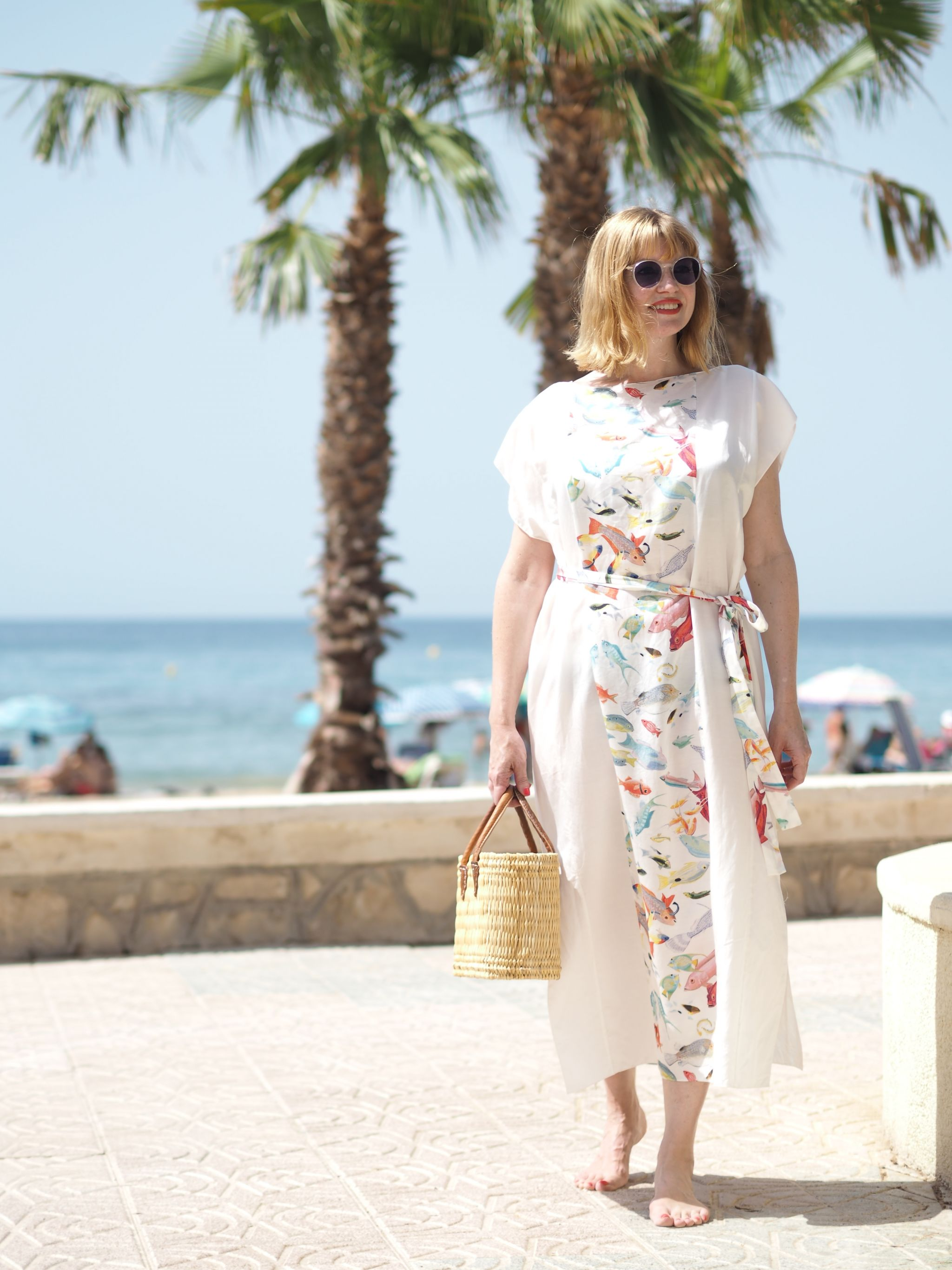 Rose Fulbright fish kaftan, Calpe seafront