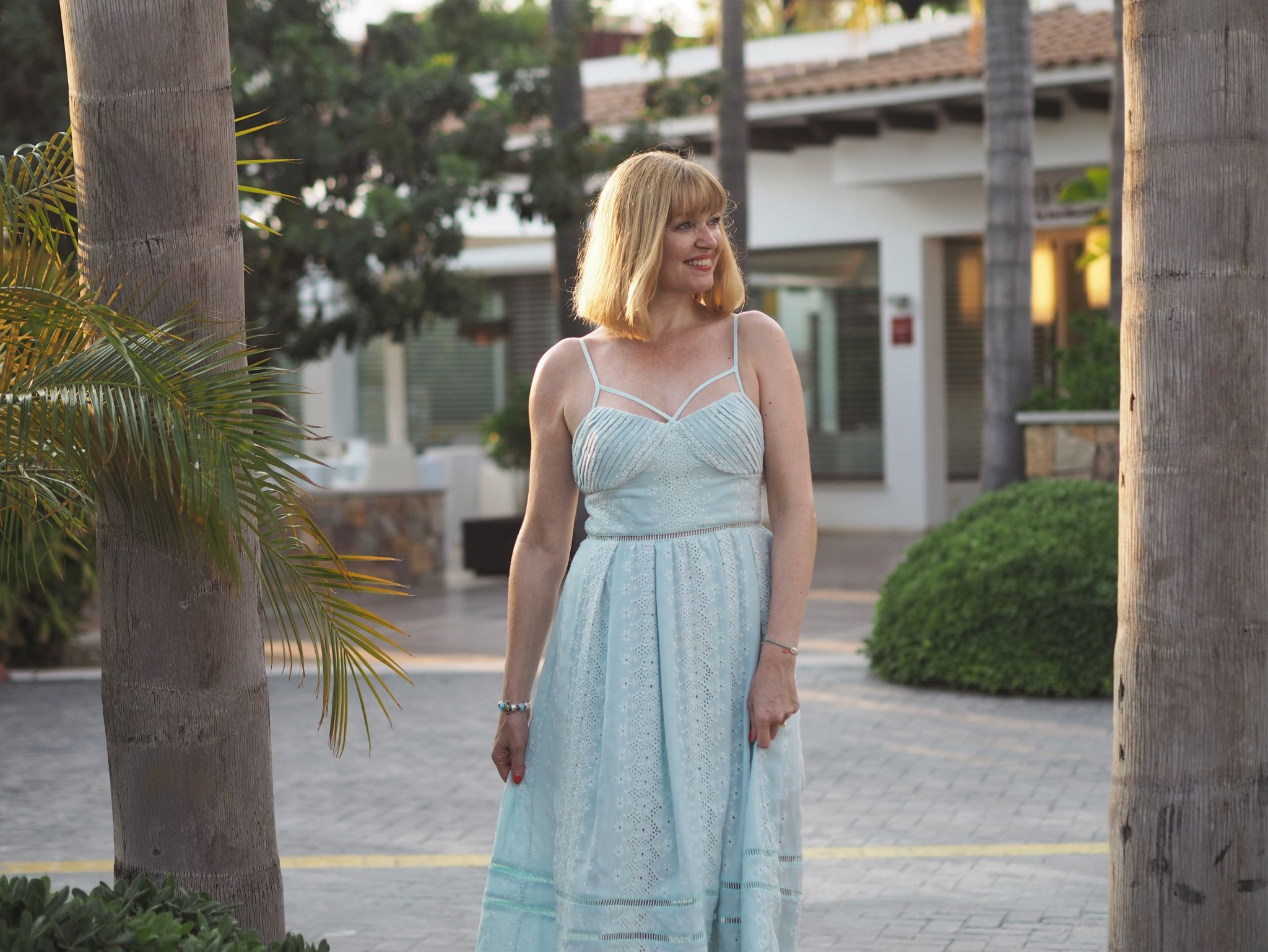 Self Portrait mint green broderie dress