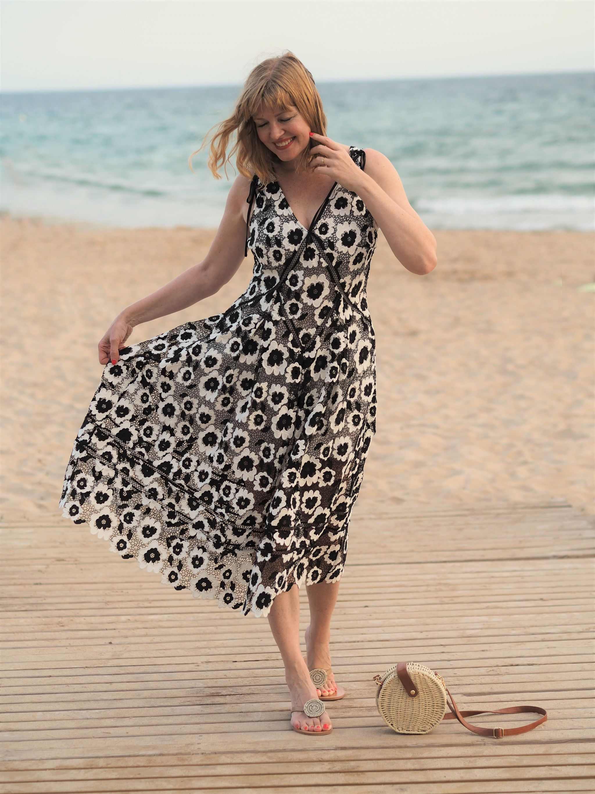 self portrait black and white dress casual styling